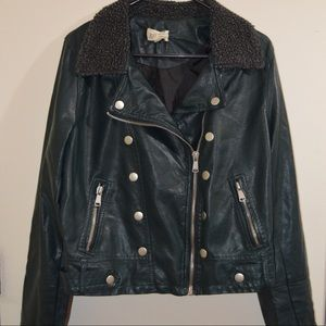 Green Faux Leather Jacket